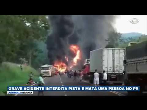 Caminhão com combustível explode em acidente no Paraná