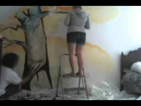 Painting A Hobbes From Calvin And Hobbes Mural On Daughter S Bedroom Wall