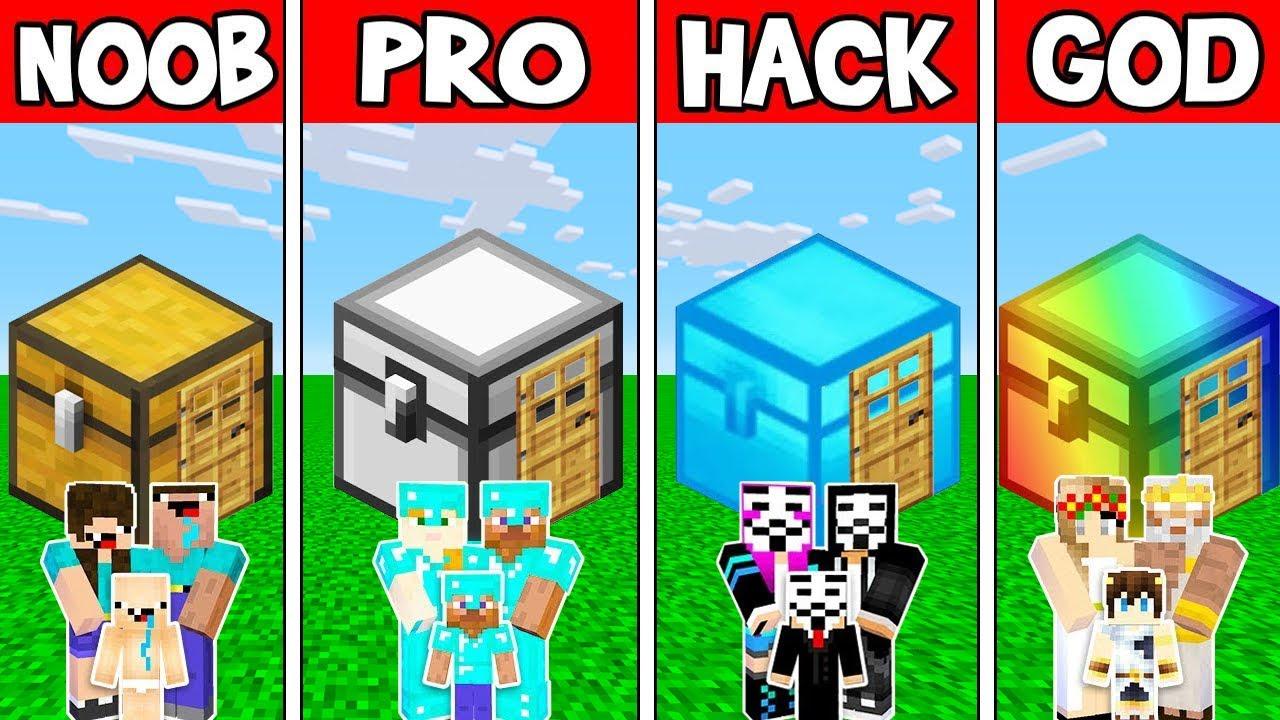 Minecraft Battle: FAMILY CHEST HOUSE BUILD CHALLENGE - NOOB vs PRO vs HACKER vs GOD / Animation