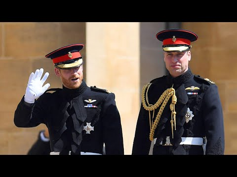 Prince Harry arrives at Windsor with Prince William
