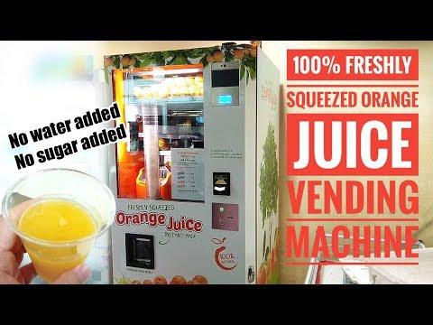 Freshly Squeezed Orange Juice Vending Machine Youtube