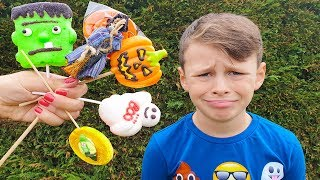 Johny Johny Yes Papa  Spooky Halloween Pretend play candy Haul of Ali and Adriana