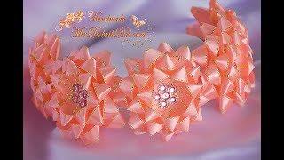 НЕЖНЫЙ ОБОДОК с цветами канзаши🌷DIY Kanzashi Headband