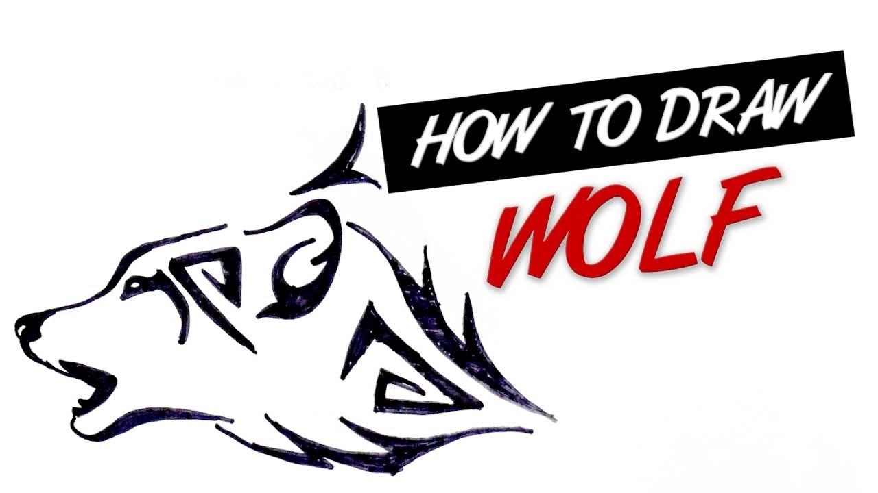 How To Draw Wolf Head Tribal Tattoo Design #14