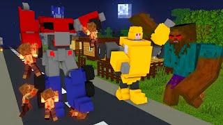 Monster School : ROBOT TRANSFORMERS vs ZOMBIE APOCALYPSE - Minecraft Animation