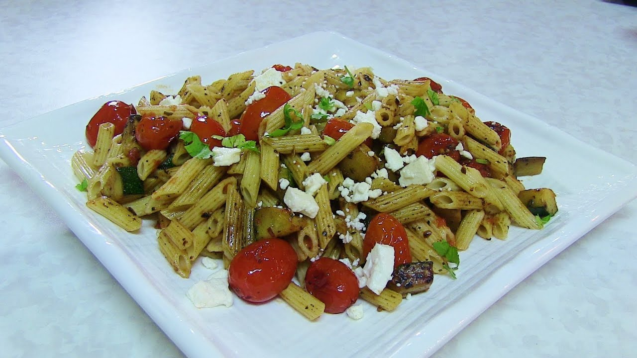 Quick zucchini cherry tomatoes pasta salad video recipe by quick zucchini cherry tomatoes pasta salad video recipe by bhavna lunch box recipe youtube forumfinder