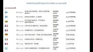 football predictions for today 21.09.2018