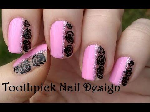Toothpick Nail Art Baby Pink Black Roses Nails