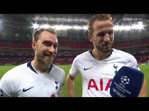 Christian Eriksen and Harry Kane react to Spurs vs Inter Milan