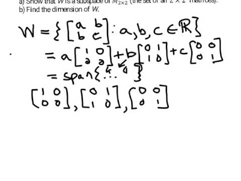 dimension of symmetric matrices subspace