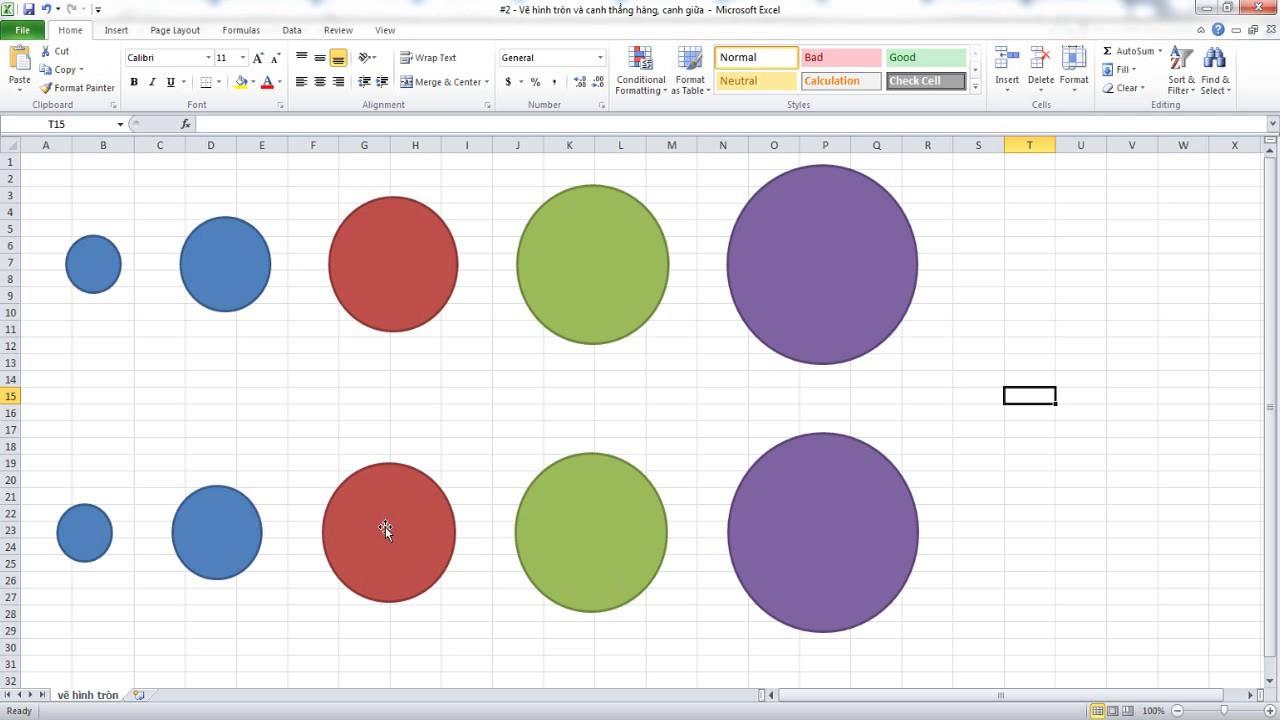 #2 Excel – Hướng dẫn vẽ hình tròn, canh thẳng hàng và khoản cách đều nhau