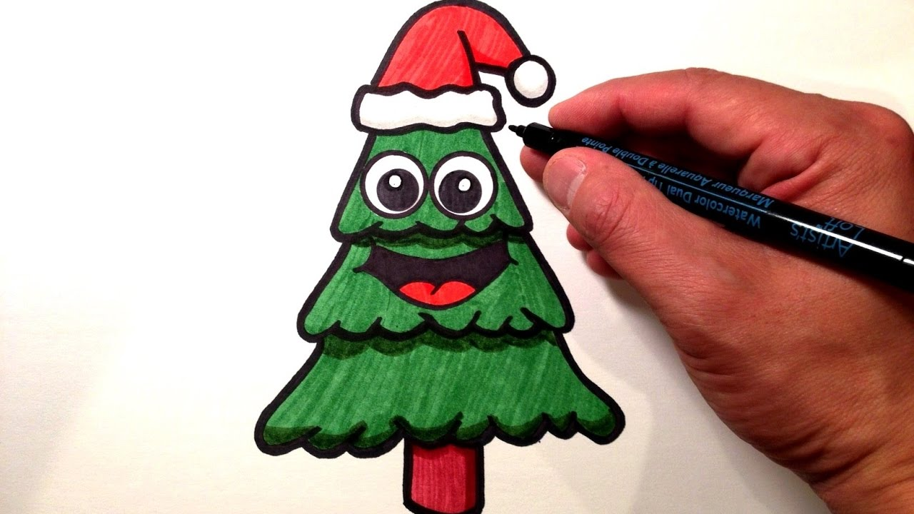 How to Draw a Cute Christmas Tree - YouTube