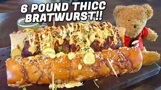 6lb Oktoberfest Bratwurst Challenge w/ Bavarian Pretzel Bun!!