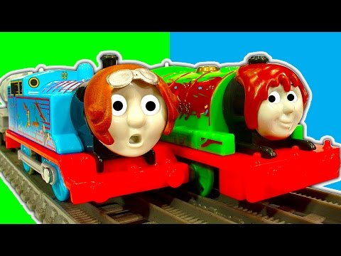Thomas & Jet Engine Vs Percy Chocolate Crunch Trackmaster Toy Train Race & Crash