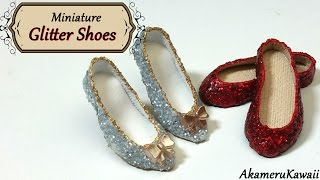 Miniature Sparkly Glitter  Doll Shoes - Polymer clay & fabric tutorial