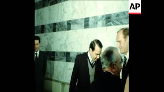 UPITN 17/02/80 THE ARRIVAL OF IRANIAN FOREIGN MINISTER GHOTBZADEH AND PRESS CONFERENCE