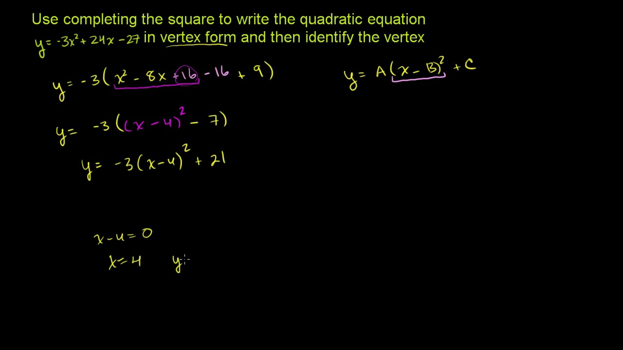 Completing the square for vertex form   Quadratic equations ...