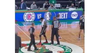 Kyrie Irving Appeared To Step On The Celtics Logo At Mid Court With A Little Extra Something