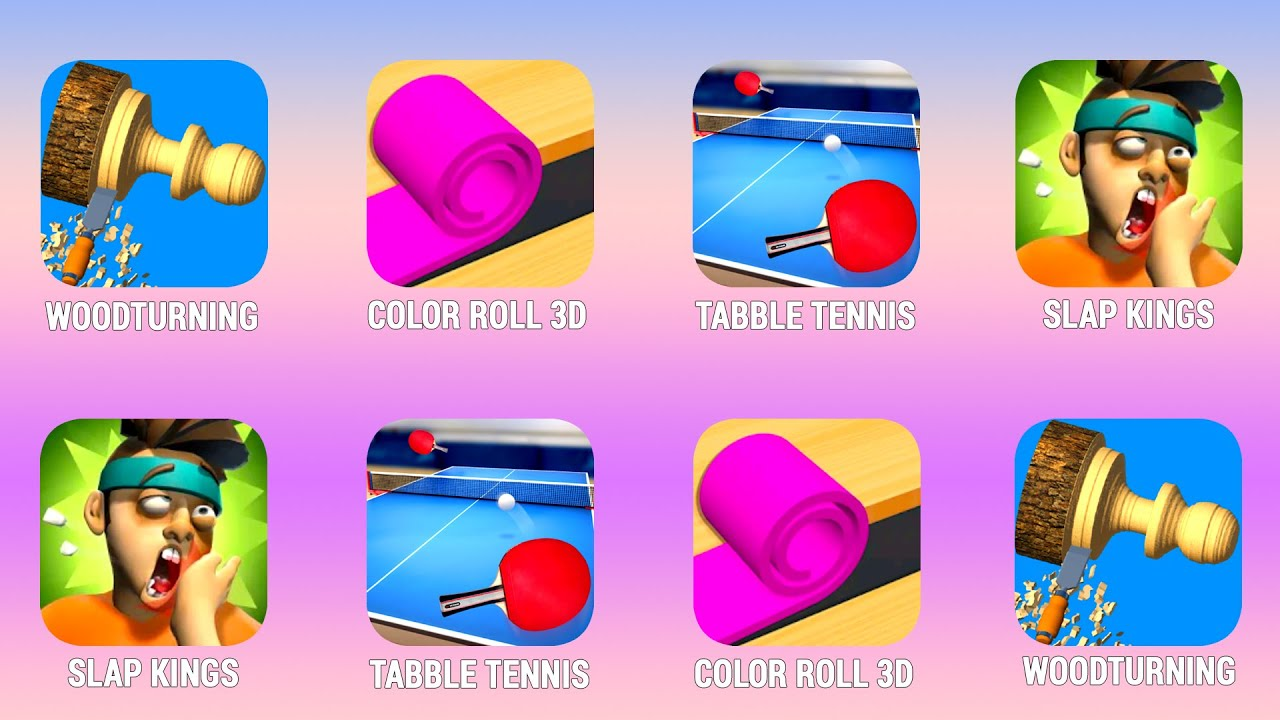 WOODTURNING, Color Roll, Tabble Tennis, Slap Kings, Walkthrough (iOs, Android) | Power of Gameplay