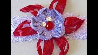 Novo modelo de flor de fitilho e flor de tecido Passo a Passo