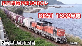 【JR貨物 迂回貨物列車9080レ 2018.9.12 ~前編~ 山口線・山陰本線(DD51 1802号機)】