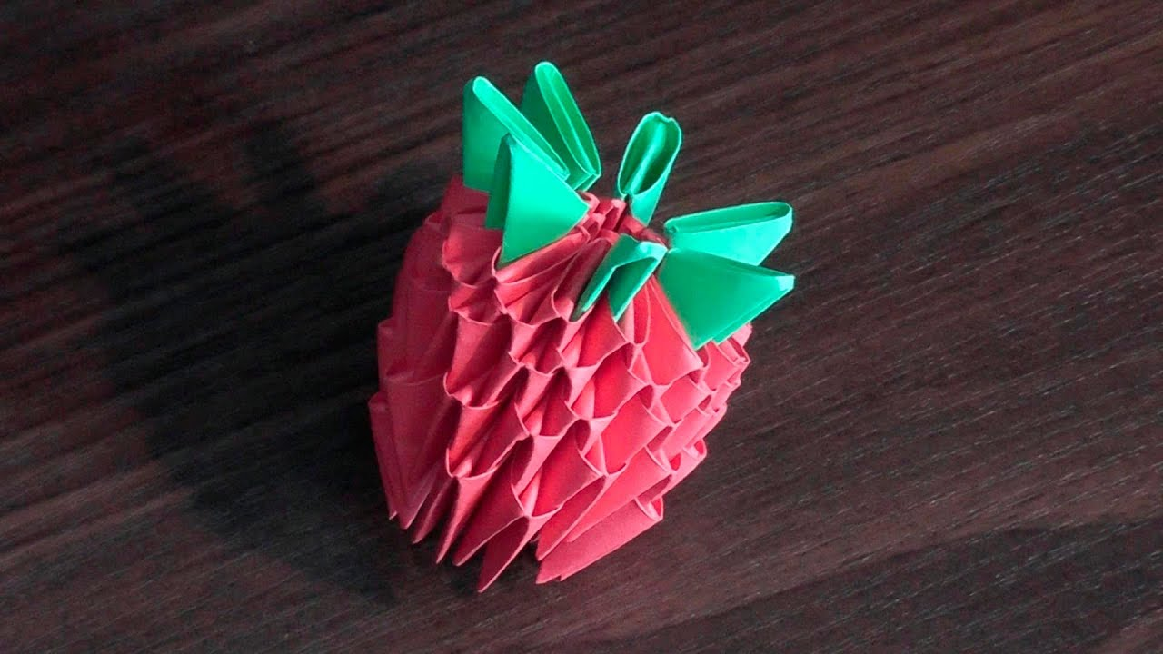 3D Origami Strawberry Tutorial Instruction For Beginners