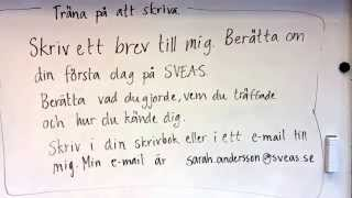 Skriv ett brev och berätta om din första dag på Sveas.