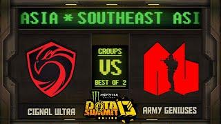 Cignal vs Army G Game 1 - Monster Energy Dota Summit 13 Online SEA: Groups w/ SeekNStrike & Avo+