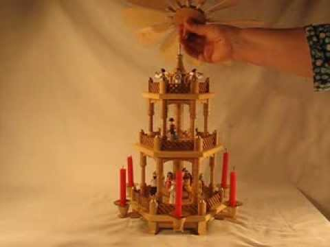 16720 German Christmas Pyramid 3-Tier Nativity - YouTube
