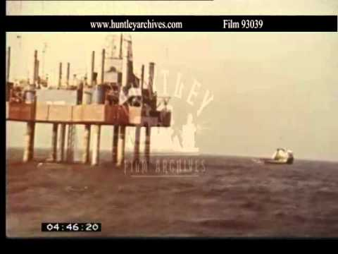 North Sea Oil Rig, 1960's.  Archive film 93039