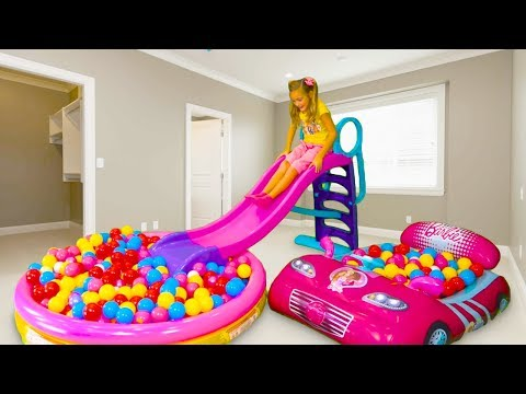 Sasha and papa pretend play with Waterslide