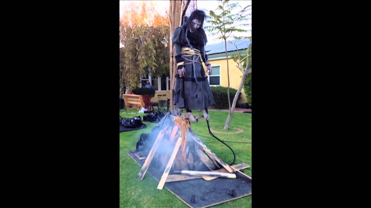 bw707 burning witch poisonpropscom pneumatic halloween prop youtube - Halloween Prop