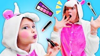 Vidéo drôle. La famille de licornes : le maquillage