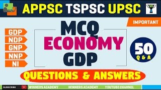 INDIAN ECONOMY - GDP - MCQ (50 Questions & Answers)