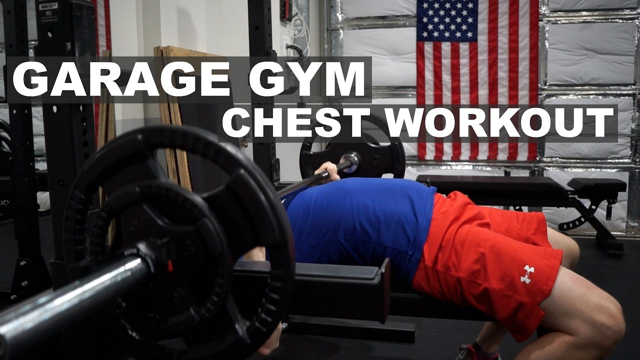 Garage gym barbell chest workout children consume time fat