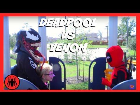 Little Heroes Kid Deadpool vs Venom Superheroes in Real Life | SuperHero Kids Fight Water Park Movie