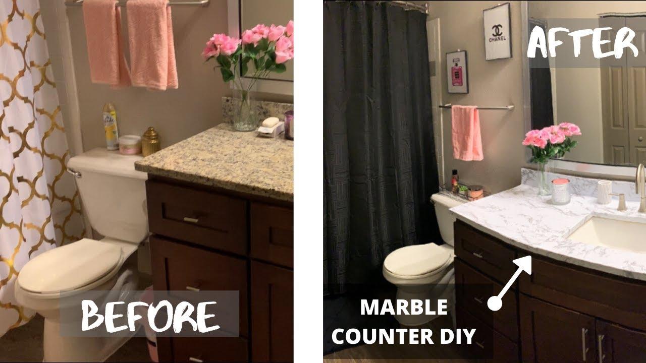 Decorating My Apartment Bathroom Revamp Under 80 Diy Marble Countertop Youtube