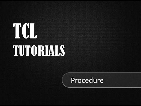 Procedure In TCL -TCL Tutorials