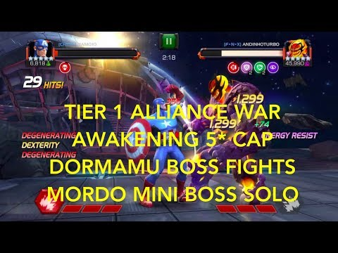 Tier 1 Alliance War - Awakening og 5* Cap - Dormamu Boss fight - Mini Boss Mordo Solo - Whole run