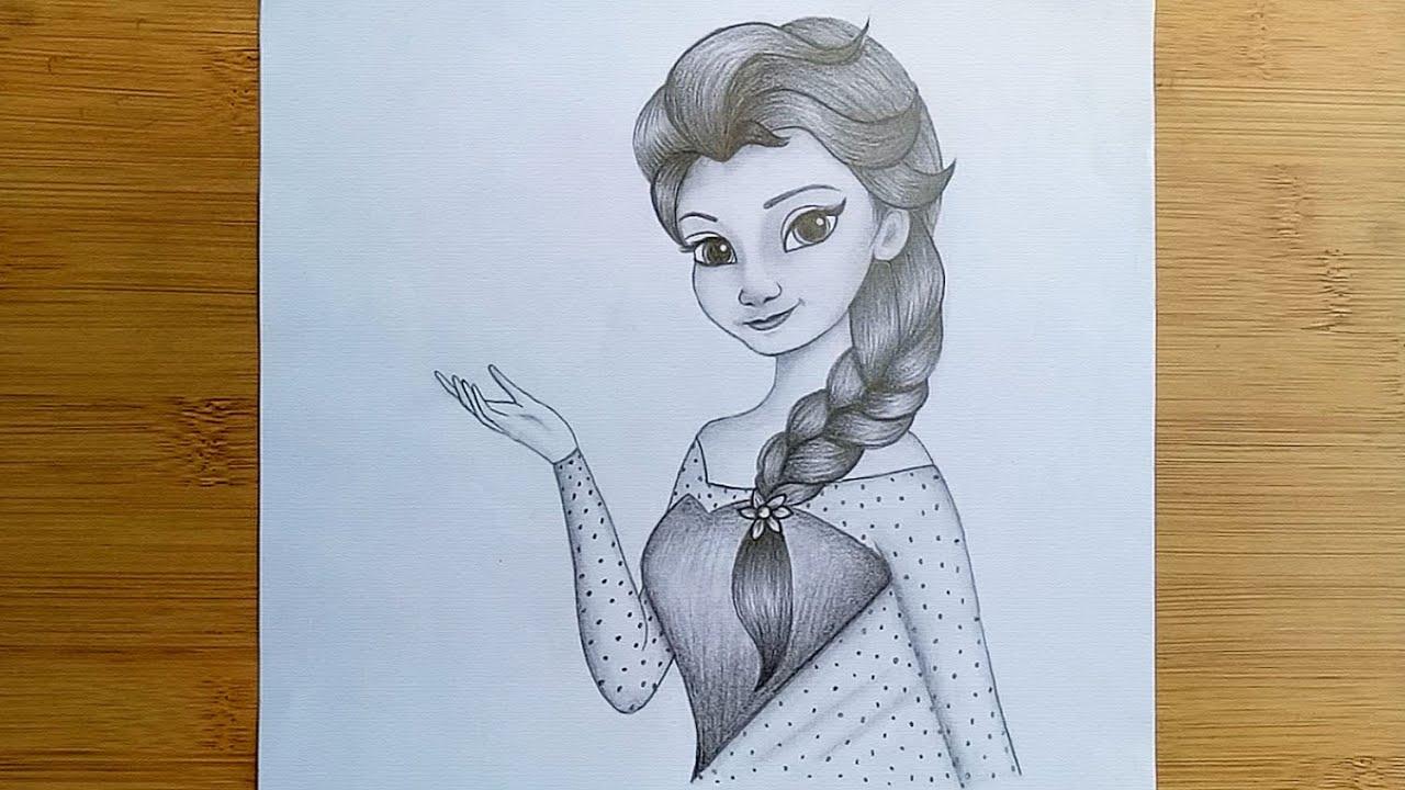 How To Draw Disney Princesses Elsa Easy Way To Draw Princess Elsa With Pencil Sketch Youtube