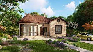 Красивый одноэтажный дом с панорамным остеклением 108 кв.м. | SketchUp + Lumion 8