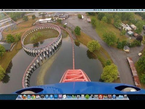 Ride of Steel Roller Coaster POV Darien Lake NY Superman Intamin Hyper