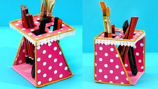 DIY Pen Stand   How to Make Pen Stand using Cardboard   Easy Best Out of Waste Pencil Holder
