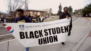 The profound effect Martin Luther King Jr. had on our country in his tragically shortened life is beyond words. The Black Student Union at NAU along with NAU Athletics and diversity groups gathered to remember the great man half a century later.