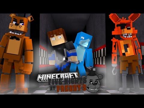 MINECRAFT FNAF - FREDDY AND THE GANG SPY ON SHARKY AND SCUBA STEVE!!!