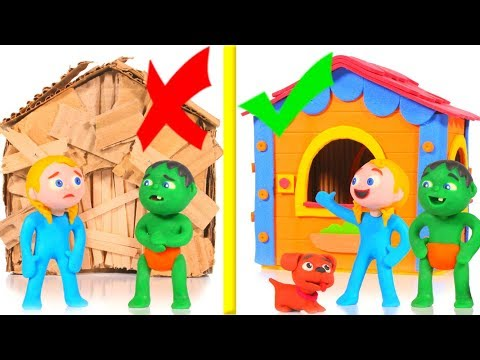 KIDS BUILDING A CARDBOARD HOUSE VS STRONG BRICKS HOUSE  ❤ SUPERHERO PLAY DOH CARTOONS FOR KIDS
