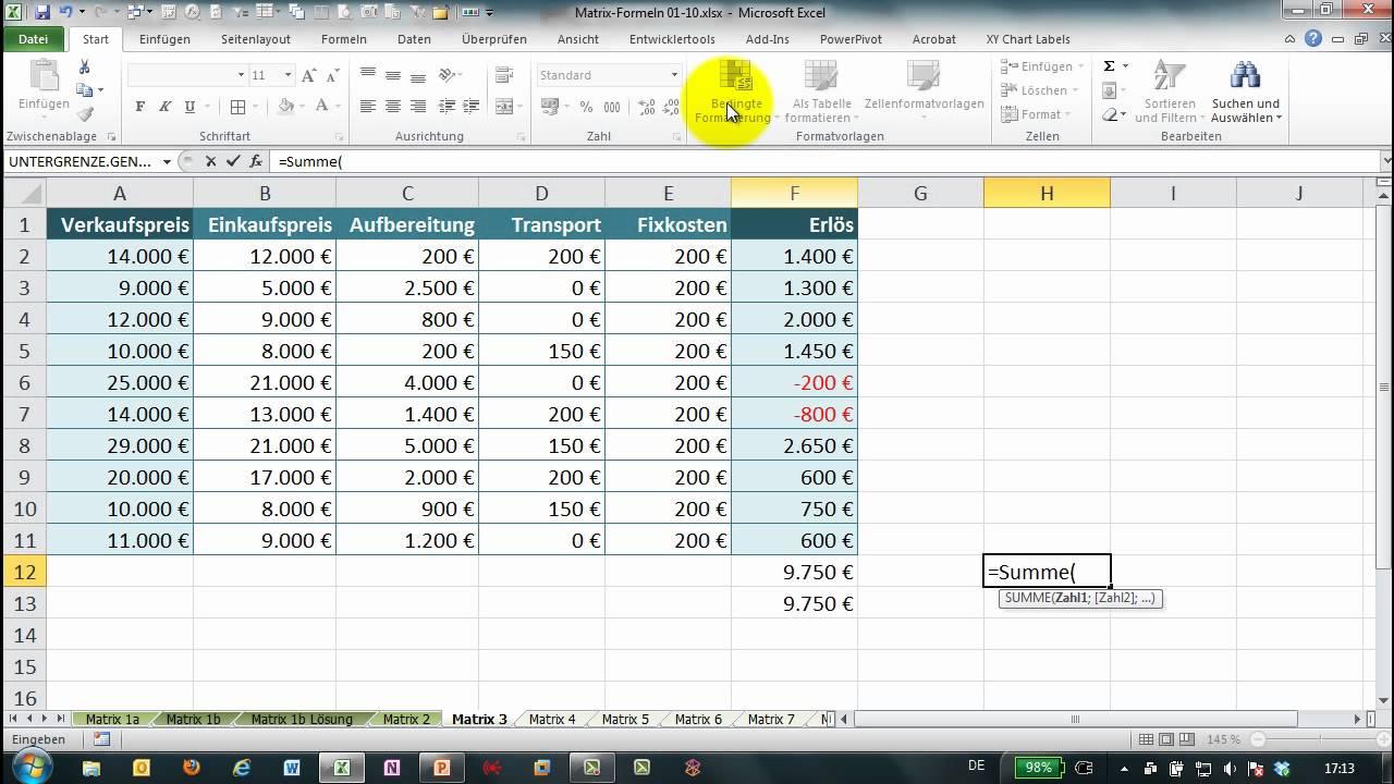 Excel Formel Mit $