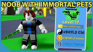 Noob With Immortal Pets in Roblox Ninja Legends *OVERPOWERED*