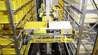 Storage-retrieval machine for bins, cartons and trays – Schäfer Miniload Crane