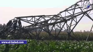 بالفيديو.. مهندسو كهرباء الفيوم يواصلون إصلاح برج ضغط عالي تعرض للتفجير